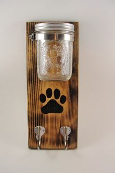 CUSTOM ORDER- Keep your dog treats and leashes ready to go in a unique and funktional style. Cedar board has been lightly burned, then I