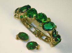 ~Juliana Green Rhinestone Clamper Bracelet & Matching Earring Set~Large Stones #Unbranded