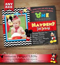 Black Chevron Mickey Mouse Invitation by ThePrintableOccasion