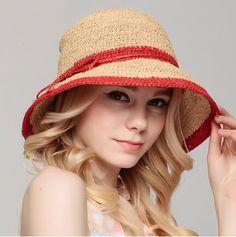 Striped raffia straw hat for women crochet package sun hats summer wear