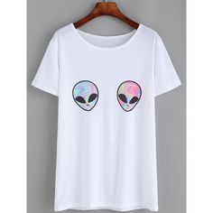 White Aliens Print T-shirt ($18) ❤ liked on Polyvore featuring tops, t-shirts, sleeve t shirt, white top, white tee, white short sleeve t shirt and short sleeve tee