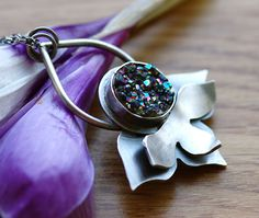 Lotus Inspired Necklace with titanium druzy agate stone by Echoes of Norway