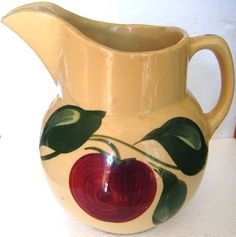 Rare Three Leaf Watt Pottery Apple Pattern Pitcher by parkledge, $50.00