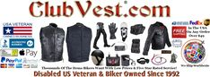 www.clubvest.com USA / www.ClubVest.com, Official Club Vest Brand Motorcycle Biker Carry MC Club Vests Denim or Leather CCW gun pockets, MC, Disabled Veteran Biker Owned by Jimmy Lee