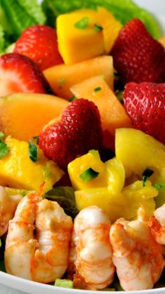 Southwestern Fruit Salad with Tequila Lime Dressing and Prawns ~ blends fresh fruit from Mexico with fresh seafood from the Pacific Northwest.