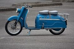 vintage blue moped for 2