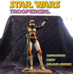 STAR WARS Troopergirl, printed, coloured and finished. 3d Printing, It Is Finished, Star Wars, Wonder Woman, Superhero, Printed, Stars, Fictional Characters, Color