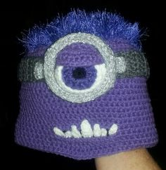 EVIL MINION beanie.   Adult size.   $35.  Infant and children sizes made to order.  Infant size $25.  Child size $30.  Shipping and handling $5.  Different styles made to order