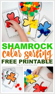 These shamrock color sorting printable activities are just what you need for your preschool St. Fun math and fine motor work. Color Activities For Toddlers, Small Group Activities, Abc Activities, Spring Activities, Free Preschool, Preschool Printables, Free Printables, St Patrick Day Activities, Montessori