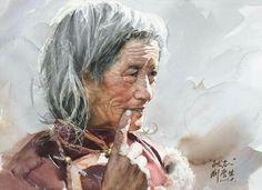 Liu Yunsheng - White haired  old  man - watercolor