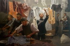 """""""Chinese Family Laundry"""" a new fine art edition by Mian Situ, master of the Asian American late-19th century experience."""