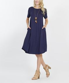 907473a9f3 Navy Two-Pocket Midi Dress - Women   Plus