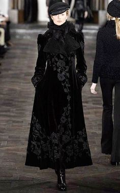 Velvet Floral Embellished Russian Style Black Coat Ralph Lauren Fall Winter 2013