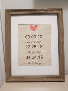 The First/Yes/Best Day Burlap or Cotton Canvass Print/Wedding/Anniversary/Birthday/Mothers & Fathers Day/Gift for him Her/