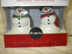 """Publix Holiday Snowfolk Salt and Pepper Shaker Set Encore Edition . $12.01. This set is made of porcelain and have been handcrafted & painted.. The snowfolks measures approx 5 3/4"""" in height.. A Mr & Mrs Santa's set; which is discontinued/ retired and are now a collectible item. Set comes new in a box"""