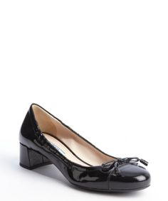 Prada black bow embellished patent leather pumps