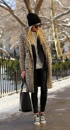Styling The Leopard Coat - A casual weekend outfit with a dash of fierce. This leopard coat worn with a beanie and chuck taylors is effortlessly cool. Fashion Blogger Style, Fashion Mode, Look Fashion, Fashion Outfits, Womens Fashion, Fashion Fall, Street Fashion, Workwear Fashion, Fashion Blogs