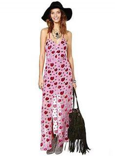 #BFCM #CyberMonday #Oasap.com - #Roawe Women's Rose Print Slip Maxi Dress - AdoreWe.com