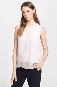 Vince Washed Satin Mixed Media Top available at #Nordstrom