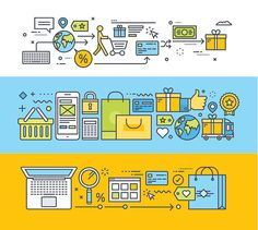 Vector Art : Set of thin line flat design concepts for internet shopping