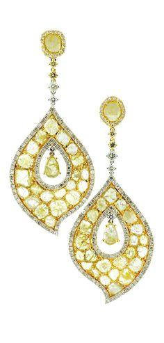 """Aladdin (Small)"" 18K Yellow Gold Slice and White Diamond Drop Earrings"