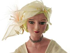 Boudoir Doll Vintage Flapper Composition and Cloth Body Silk Gown Undergarment Corset Wired Fabric Fascinator Feather Boa with Clasps