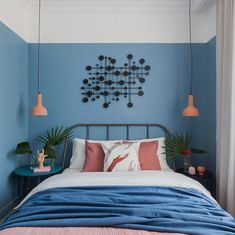 〚 Colorful rental apartment in Moscow sqm) 〛colorful blue bedroom modern interiordesign homedecor home decor idea inspiration interior cozy living style 570198002822875934 One Bedroom Apartment, Home Decor Bedroom, Bedroom Modern, Classic Home Decor, Bedroom Colors, Home Interior Design, Interior Plants, Nordic Interior, French Interior