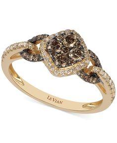 Le Vian Čokoláda a White Diamond Ring v 14k Rose Gold (5/8 ct tw.) - Kroužky - Šperky a hodinky - Macy