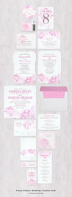 Romantic peony wedding invitation in fuchsia pink and gray.