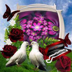 vrede en duiven mooie bloemen