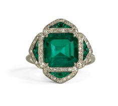 Estate Jewelry:  Emerald and Diamond Ring
