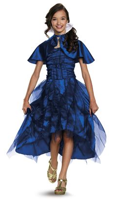 Disney Descendants Movie Evie Costume - From the new Disney movie, this officially licensed costume is of Evie, daughter of the Evil Queen. This is the gown she wears to the coronation event. It is a blue satin with organza overlay. There is a mesh top with gold glitter detailing and a matching blue satin capelet. Perfect for Halloween and Disney themed parties.