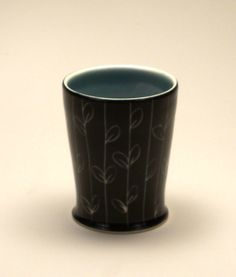 Blackvine Tumbler by Dulcie Miller Clayworks. American Made. See the designer's work at the 2015 American Made Show, Washington DC. January 16-19, 2015. americanmadeshow.com #ceramic, #pottery, #americanmade, #tumbler