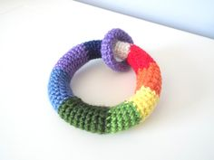 Crochet rainbow colors ring game for babies. Soft toys for babies.Gifts for babies.Gifts for kids.Small giftables. Babies and toddlers games by NicheOfArt on Etsy