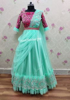 Draped style pastal green and pink combination designer long frock # designer long frocks # draped style frock designs # Indian dresses # Indian traditional wear # ethnic outfit by viviktha Long Dress Design, Girls Frock Design, Kids Frocks Design, Baby Frocks Designs, Popular Dresses, Nice Dresses, Girls Dresses, Trendy Dresses, Fashion Dresses