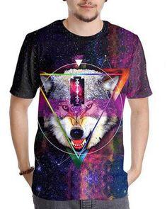 f68e56a6 Galaxy wolf head 3d tshirts short sleeve for teens Galaxy Wolf, Galaxy T  Shirt,