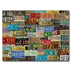 Vintage License Plates Post Cards