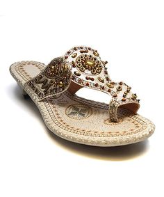 Look what I found on #zulily! Beige & Gold Bead Embroidered Sandal http://www.zulily.com/invite/pwelborn132