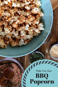Barbecue Popcorn with an easy BBQ seasoning mix is a simple recipe with a tangy twist. Homemade Popcorn Recipes, Flavored Popcorn, Gourmet Popcorn, Homemade Bbq, Homemade Seasonings, Snack Recipes, Yummy Recipes, Free Recipes, Dessert Recipes