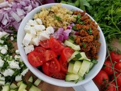 Greek Protein Bowls (Maybe exchange the quinoa for more veggies? Bell Pepper or even some lettuce?)