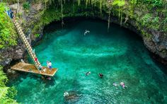 There's an unbelievably gorgeous swimming hole hiding in a volcano in Samoa #samoa #nature #travel #trip #traveltips