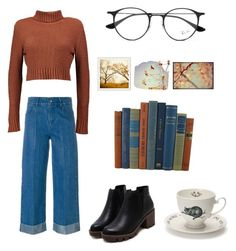 """🐌📖📚"" by laurence-raymond on Polyvore featuring mode, Each X Other, Boohoo, Ray-Ban, Mrs Moore et Pottery Barn"