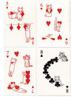 Cat playing cards: from a Japanese website - love to find these! I Love Cats, Crazy Cats, Art Carte, Alphonse Mucha, Cat Cards, Here Kitty Kitty, Chibi, Illustration Art, Design Illustrations