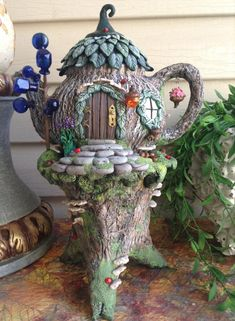 Fairy house oil burner night light house tea light by Sallyamoss (candels night) Fairy House Crafts, Clay Fairy House, Fairy Garden Houses, Garden Crafts, Gnome House, Fairy Village, Fairy Tree, Gnome Village, Polymer Clay Fairy