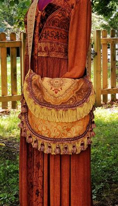 large bohemian bag purse, gypsy bag purse, tapestry bag purse, cross body bag purse, fringe bag purse, gold and brown bag purse,