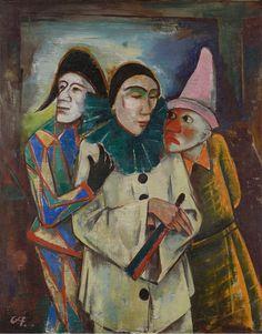 Karl Hofer (German, 1878 – 1955) Masquerade / Three masks and carnival (Maskerade / Drei Masken und Karneval), 1878