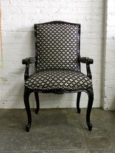 Black Antique French Arm Chair by FunkyLuxe on Etsy, $800.00