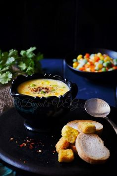 Veggie Sweet Corn Soup, crushed and whole sweet corn comes together with a colorful assortment of juicy vegetables. Delicious and creamy texture without adding cream.