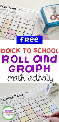 Teachers and children everywhere are gearing up for Back to School season! We are excited to help you prepare easy-prep activities and centers for your students like this Back to School Roll and Graph Math Activity! Kids like to roll a die to race to the top of the graphto see who the winner is while practicing fine motor and early graphing skills! This activity is a perfect Pre School and Kindergarten learning activity. #learningactivities #backtoschool #kindergarten #prek #preschool