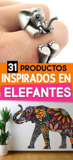 31 Productos inspirados en elefantes. Elephants products. Productos. Decoración. Elefante en forma de anillo. vinil de elefante